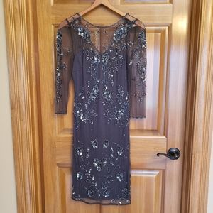 Patra beaded sequin evening dress 8 floral sleeves